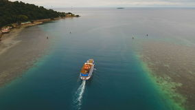 Aerial view of passenger ferry boat. Philippines. stock video footage
