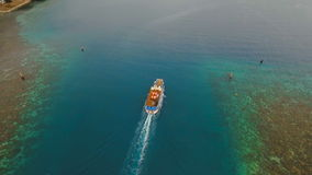 Aerial view of passenger ferry boat. Philippines. stock video