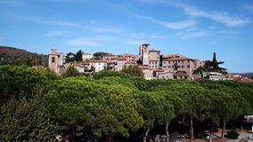 Aerial view of Passignano sul Trasimeno Tuscany Italy. Drone video footage - Aerial view ofPassignano sul Trasimeno Tuscany Italy stock footage