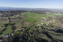 Ventura County Pastures in Hidden Valley California. Aerial view of pastures in Hidden Valley and the Santa Monica Mountains near Westlake Village, Malibu and Royalty Free Stock Images