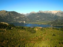 Aerial View Patagonia Woods. Aerial view of woods and river in Bariloche, Argentina stock image
