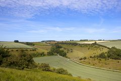Aerial view of a patchwork English landscape in summertime. Aerial view of a scenic agricultural valley with woodland and crops at Givendale in the Yorkshire Royalty Free Stock Photography