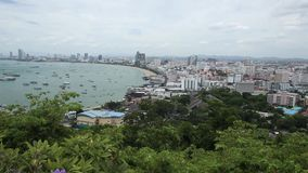 Aerial view of Pattaya bay and City in the Daytime. Chonburi, Thailand stock video