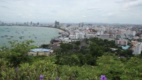 Aerial view of Pattaya bay and City in the Daytime. Chonburi, Thailand stock video footage
