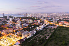 Aerial view of pattaya city at dusk Royalty Free Stock Photo