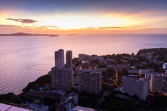 Aerial view from pattaya park tower can see a beautiful sunset. Pattaya, Thailand Royalty Free Stock Photos