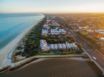 Aerial view of Patterson Lakes and Nepean Highway. Aerial view of Patterson Lakes suburb, Nepean Highway, and coastline at sunrise. Melbourne, Victoria Royalty Free Stock Photos