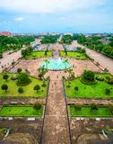 Aerial view of Patuxay park in Vientiane, Laos Royalty Free Stock Photo