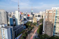 Aerial view of paulista avenue in the afternoon stock photography