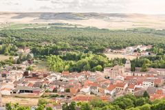 Aerial view of Peñafiel, Spain Stock Images