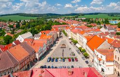 Aerial view of Peace Town Square from bell tower in Slavonice, Czech Canada, Czechia.  Royalty Free Stock Photography