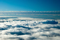 Aerial view of peaceful earth covered in clouds Royalty Free Stock Image