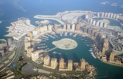 Aerial view of The Pearl Qatar. Aerial view of the The Pearl Qatar, a new neighborhood in Doha built on an artificial island royalty free stock photography