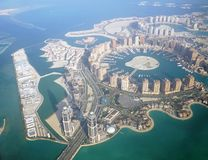 Aerial view of The Pearl Qatar. Aerial view of the The Pearl Qatar, a new neighborhood in Doha built on an artificial island Stock Photos