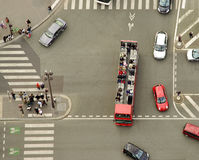 Aerial view of pedestrian crossing on street Royalty Free Stock Image