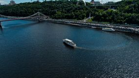 Aerial view of pedestrian Park bridge and Dnipro river stock images