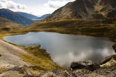 Aerial view - Pedourres lake. Aerial view on Pedourres lake in Andorra - Pyrenees mountain Stock Image