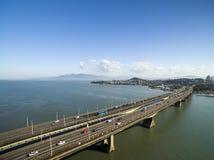 Aerial view Pedro Ivo Campos Bridge in Florianopolis. Santa Catarina. July 2017. Stock Photos