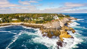 Aerial view of Pemaquid Point Light royalty free stock photography