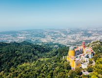 Aerial View Of Pena Palace Sintra, Portugal Stock Photos