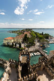 Aerial View of peninsula with Sirmione town from the Scaliger Castle Stock Photos