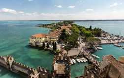 Aerial View of peninsula with Sirmione town from the Scaliger Castle Royalty Free Stock Photos