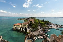 Aerial View of peninsula with Sirmione town Royalty Free Stock Photos