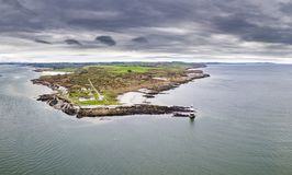 Aerial view of Penmon point lighthouse , Wales - United Kingdom. Aerial view of Penmon point lighthouse on Anglesey , Wales - United Kingdom Stock Photo