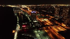 Aerial View of Penn`s Landing Philadelphia Waterfront at Night stock video footage