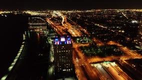Aerial View of Penn`s Landing Philadelphia Waterfront at Night stock video