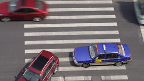 Aerial view of people on busy pedestrian crossing, Shanghai stock video
