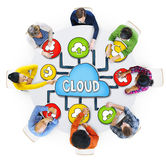 Aerial View of People and Cloud Computing Stock Image