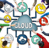 Aerial View of People and Cloud Computing Concepts.  Royalty Free Stock Image