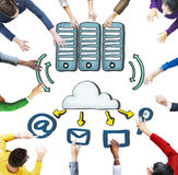 Aerial View of People and Cloud Computing Concepts Royalty Free Stock Image