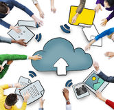Aerial View of People and Cloud Computing Concepts.  Stock Photo