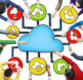 Aerial View of People and Cloud Computing. Concepts Stock Photo