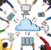 Aerial View of People and Cloud Computing Concepts Stock Images