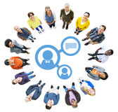 Aerial View of People and Connection Concepts Stock Photo