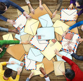 Aerial View of People and E-Mail Concepts Royalty Free Stock Photos
