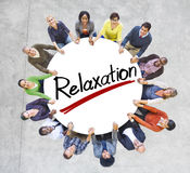 Aerial View of People and Relaxation Concepts.  stock photo