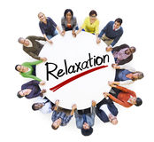 Aerial View of People and Relaxation Concepts Royalty Free Stock Images