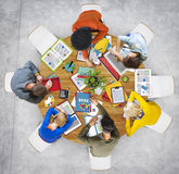 Aerial View of People Sleeping on the Table Stock Photo