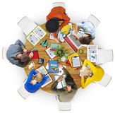 Aerial View of People Sleeping on the Table Concept Stock Photo