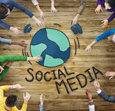 Aerial View of People and Social Media Concepts Royalty Free Stock Photos