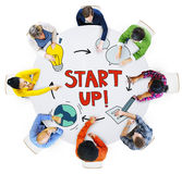 Aerial View of People and Startup Business Concepts Royalty Free Stock Photo
