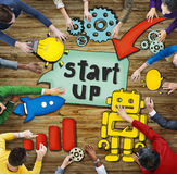 Aerial View with People and Startup Business Concepts Stock Photo