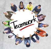 Aerial View of People and Teamwork Concepts Royalty Free Stock Photography