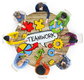 Aerial View of People and Teamwork Concepts Stock Photo