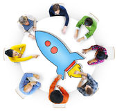 Aerial View of People and Technology Concepts stock images