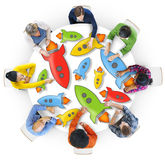 Aerial View of People and Technology Concepts Stock Image